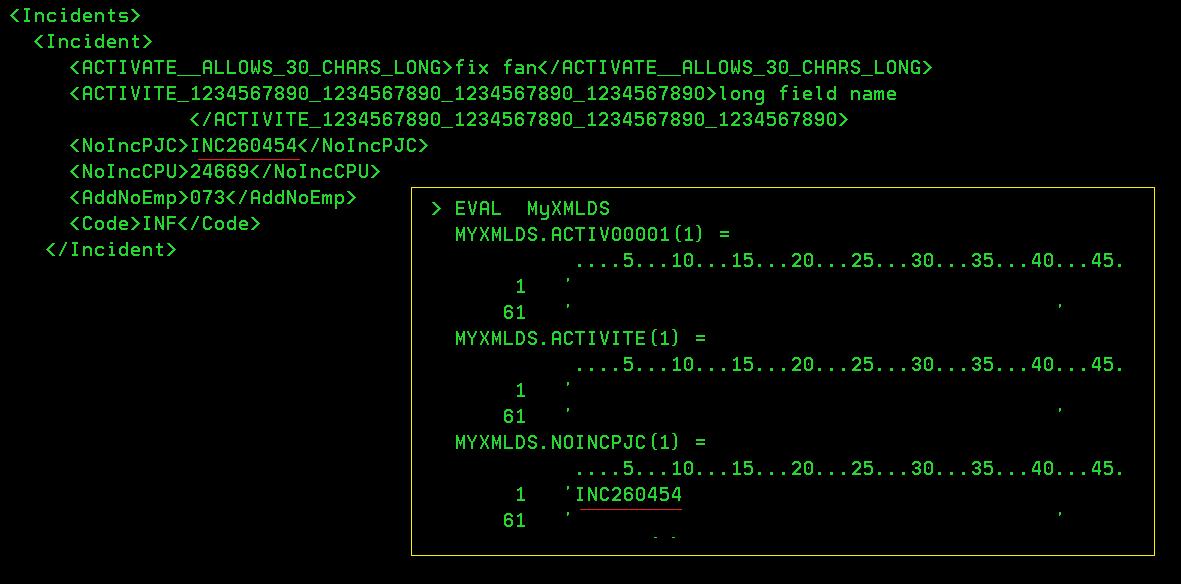 Receiving XML data into an RPG program data structure